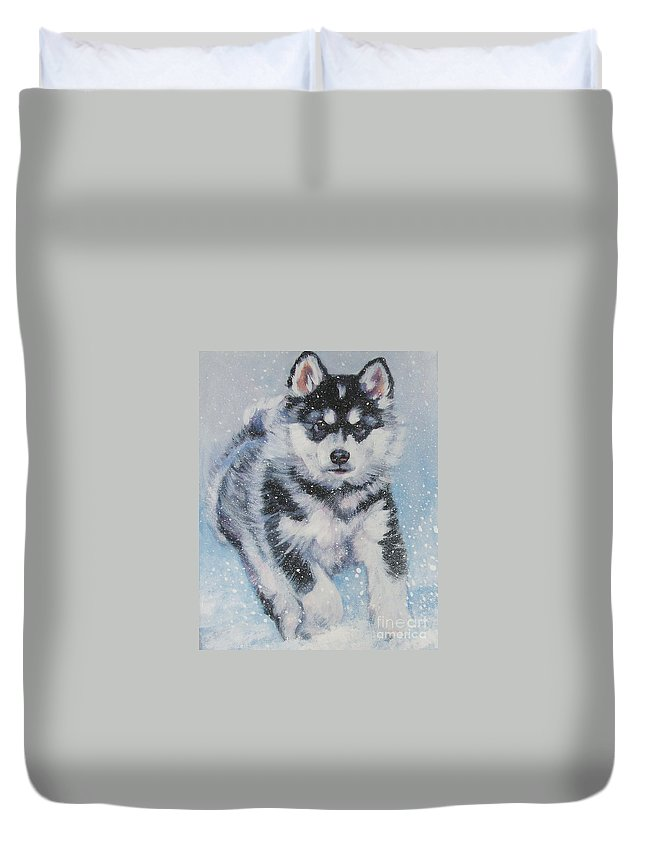 Dog Duvet Cover featuring the painting alaskan Malamute pup in snow by Lee Ann Shepard