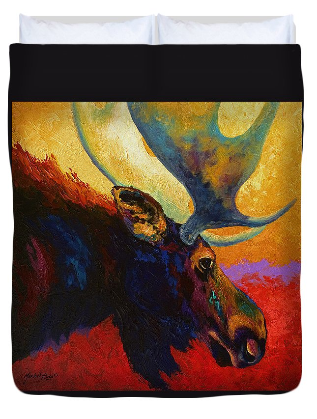 Moose Duvet Cover featuring the painting Alaskan Spirit - Moose by Marion Rose