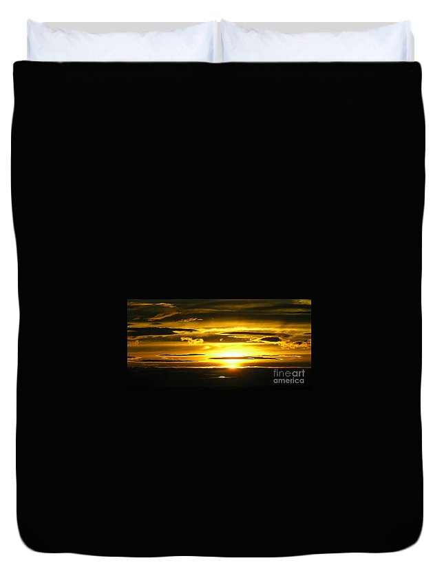 Sunset Duvet Cover featuring the photograph Alaskan Sunset by Louise Magno