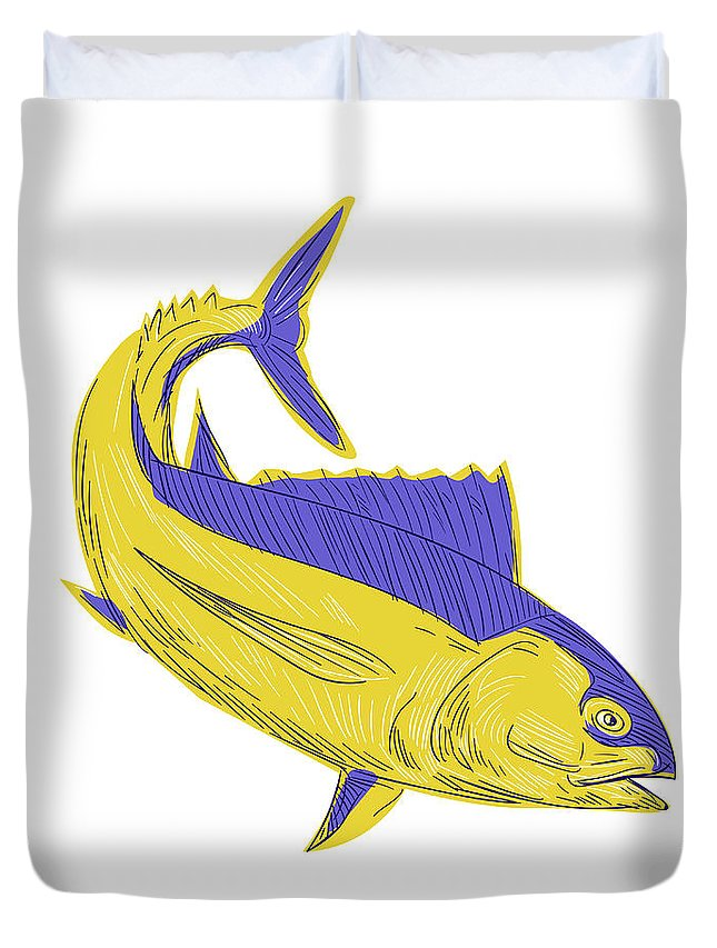 Drawing Duvet Cover featuring the digital art Albacore Tuna Fish Drawing by Aloysius Patrimonio