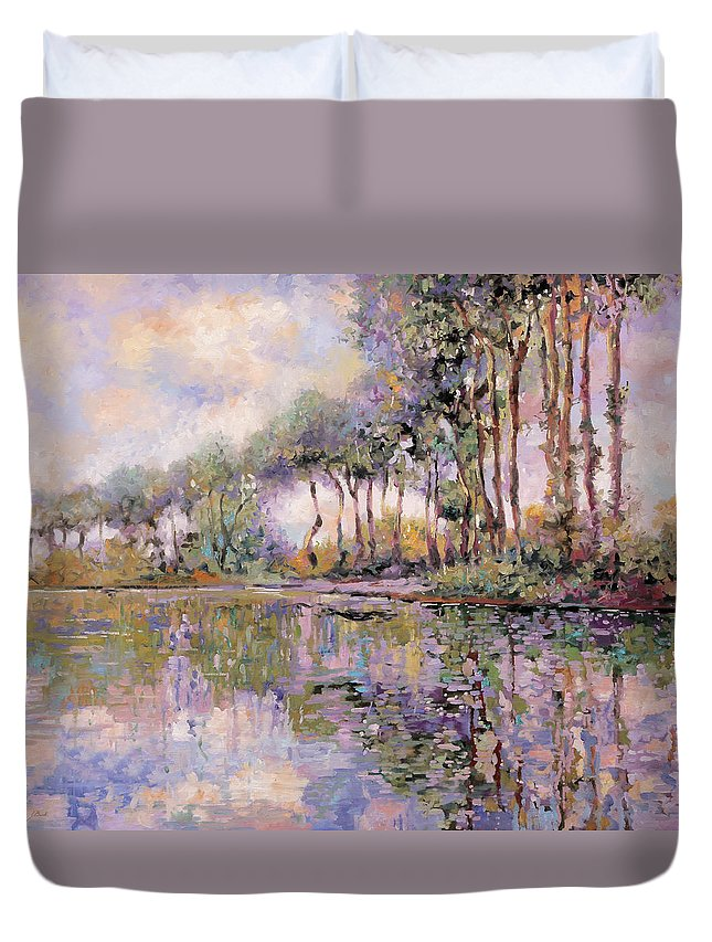 River Duvet Cover featuring the painting Alberi Sul Fiume by Guido Borelli