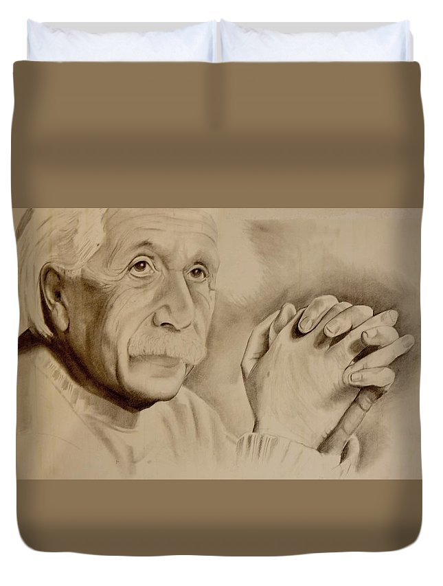 Pencil Drawing Albert Einstein Black And White Expression Duvet Cover featuring the drawing Albert Einstein by A Hwais
