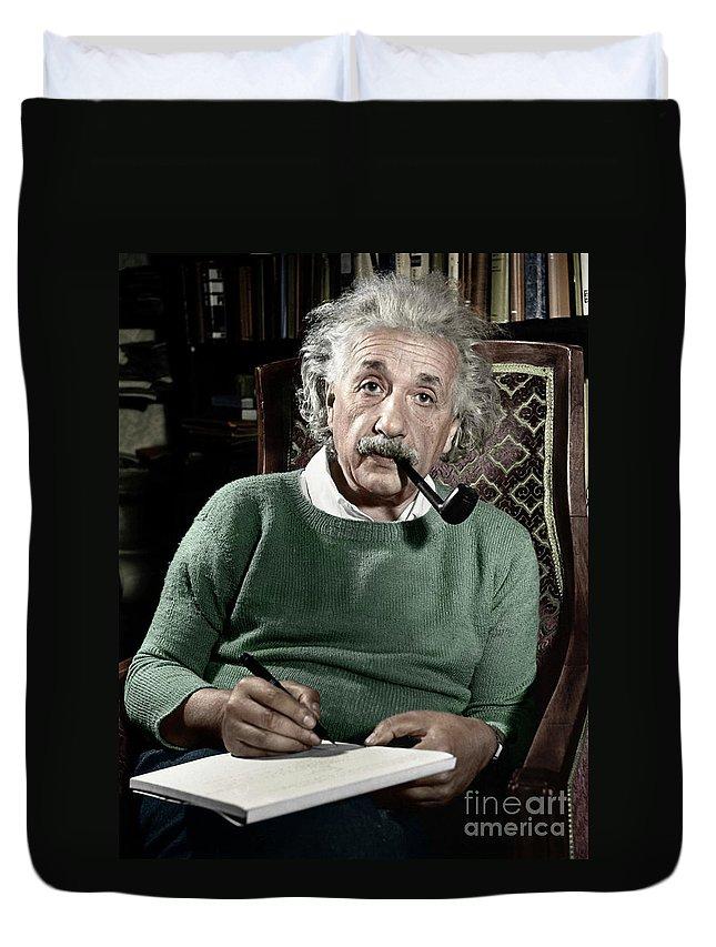 1940 Duvet Cover featuring the photograph Albert Einstein by Granger
