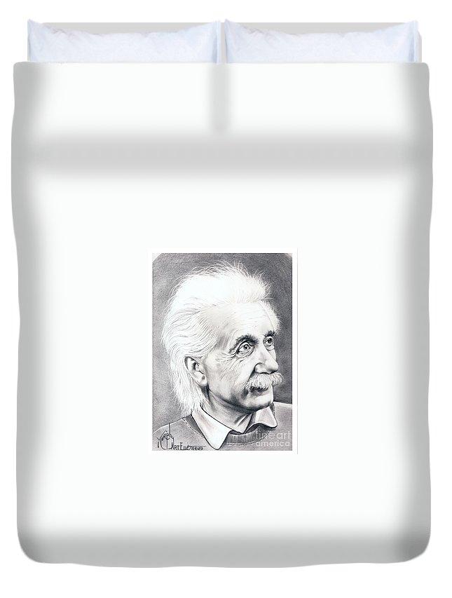 Portrait Duvet Cover featuring the drawing Albert Einstein by Murphy Elliott