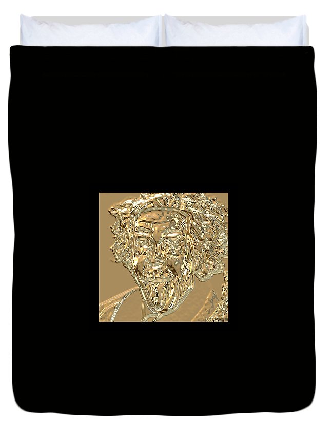 Albert Einstein Duvet Cover featuring the photograph Albert Sticks Out His Tongue 24 Kt Gold 4 by Nicholas Romano