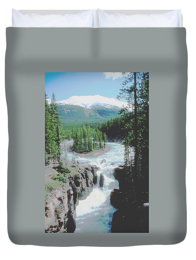 Alberta Duvet Cover featuring the photograph Alberta Island Torrent by Ron Swonger