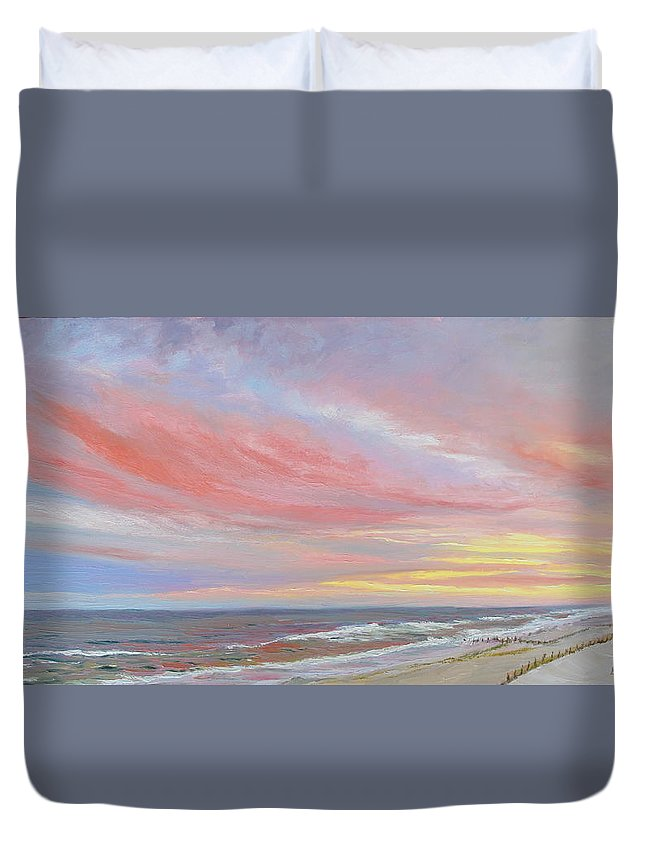 Seascape Duvet Cover featuring the painting Alberta's Sunset by Lea Novak