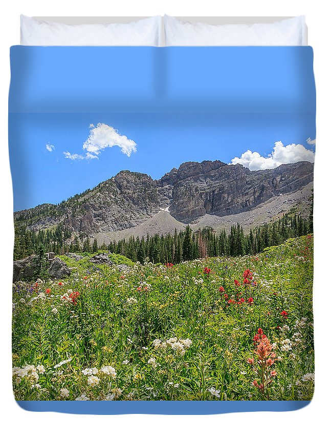 Trailsxposed Duvet Cover featuring the photograph Albion Summer Flowers by Gina Herbert