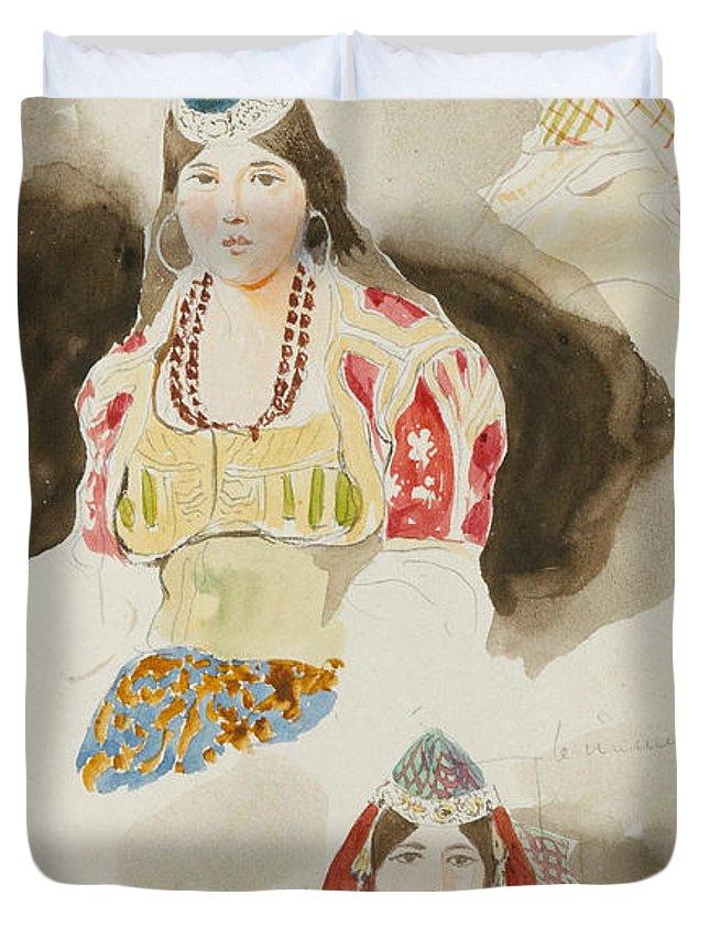 Eugene Delacroix Duvet Cover featuring the painting Album De Voyage Au Maroc by Eugene Delacroix