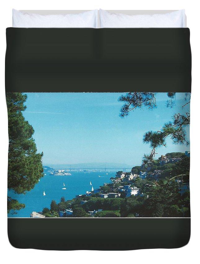 View Alcatraz Duvet Cover featuring the digital art Alcatraz And San Francisco - Oakland Bay Bridge by Rich Bertolina