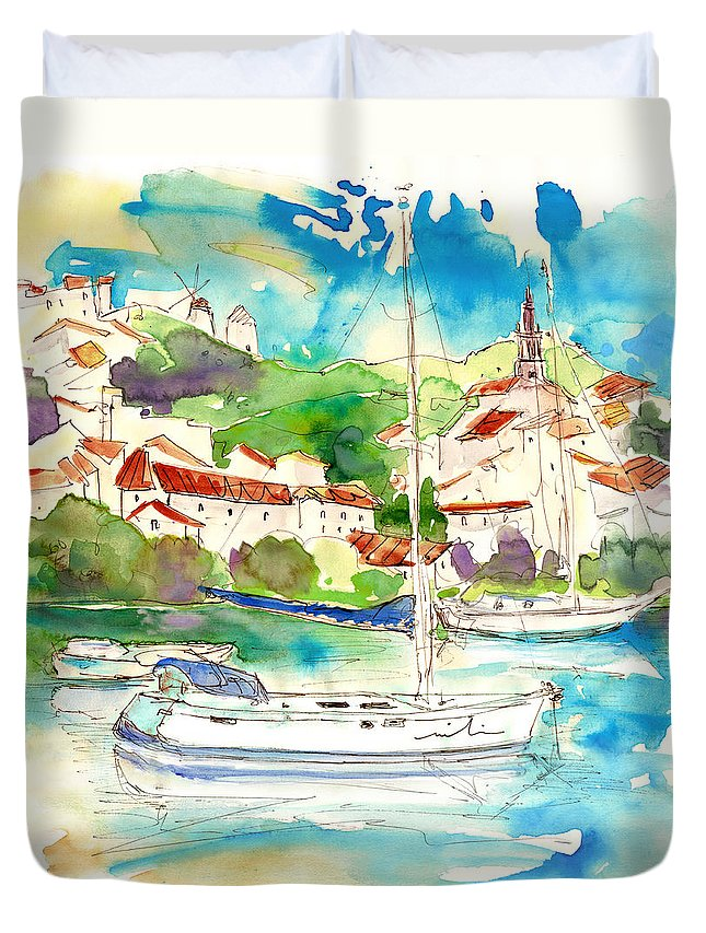 Travel Duvet Cover featuring the painting Alcoutim In Portugal 01 by Miki De Goodaboom
