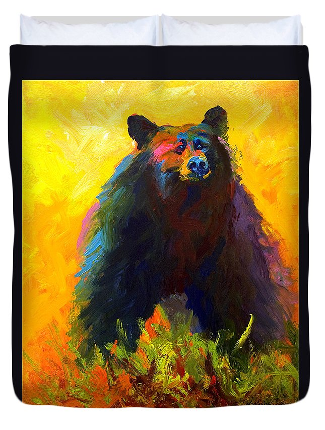 Western Duvet Cover featuring the painting Alert - Black Bear by Marion Rose
