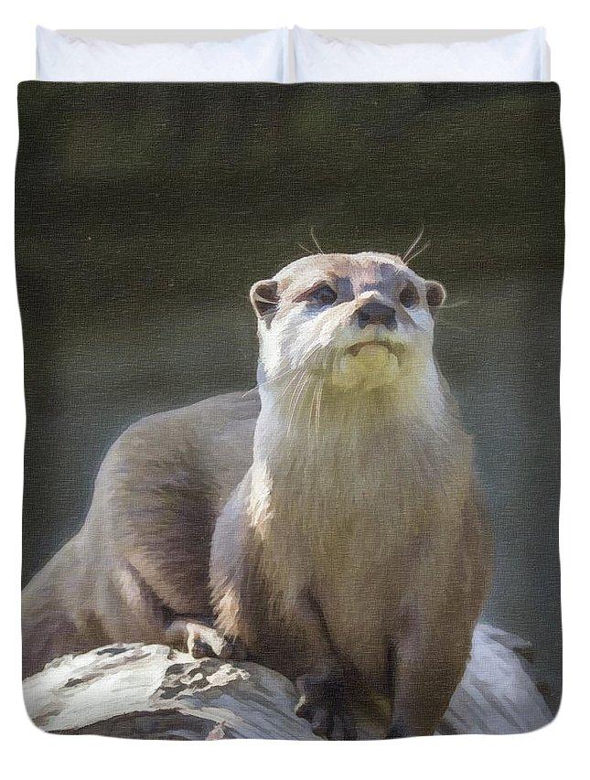 Amblonyx Cinerea Duvet Cover featuring the digital art Alert Otter Amblonyx Cinerea by Liz Leyden