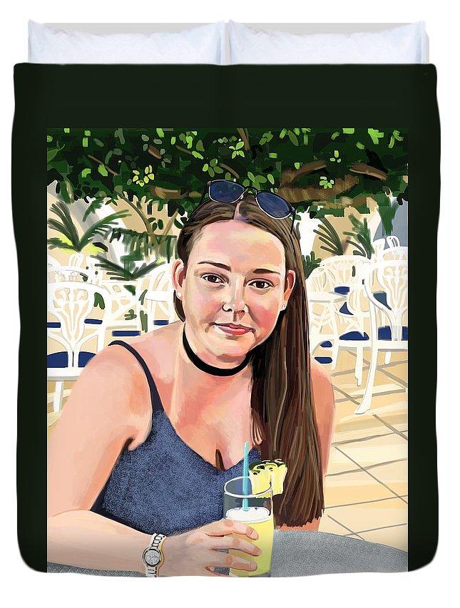 Portrait Duvet Cover featuring the digital art Alex by Plum Ovelgonne