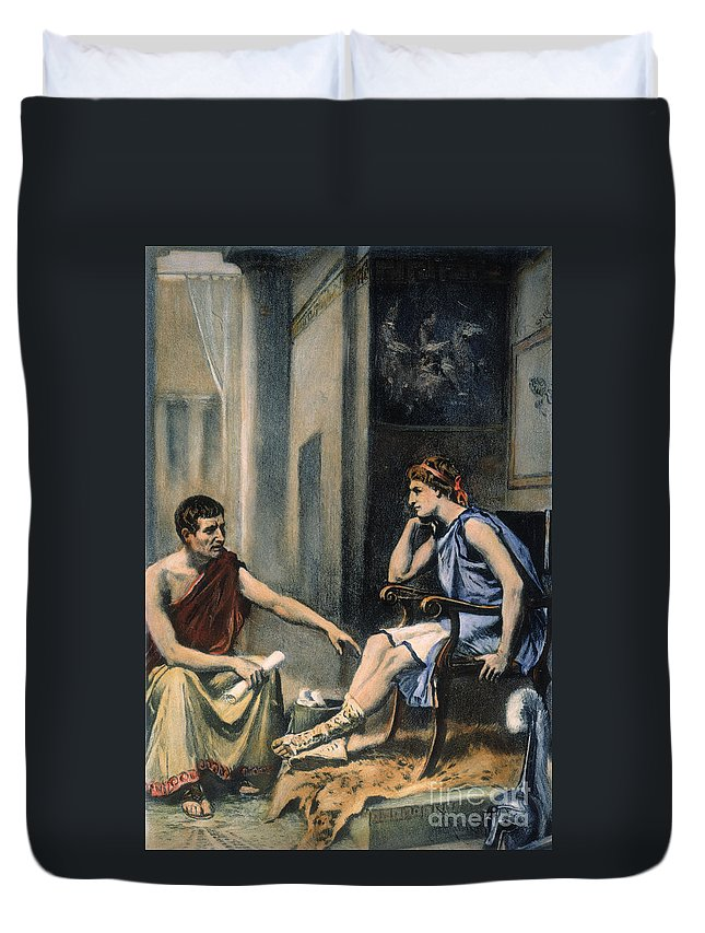 4th Century B.c. Duvet Cover featuring the photograph Alexander & Aristotle by Granger