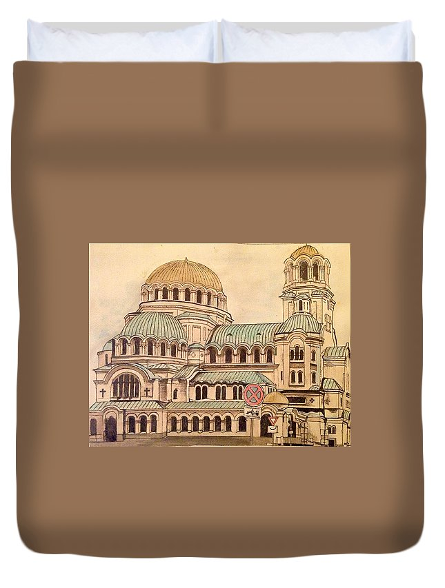 Cathedral Duvet Cover featuring the painting Alexander Nevsky Cathedral by Lauren Ullrich