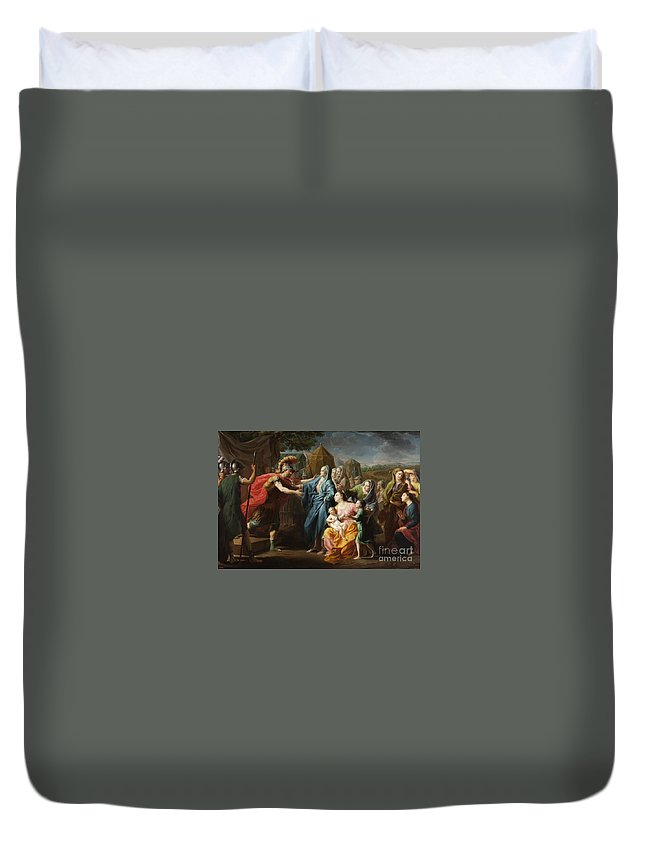 Fran�ois-xavier Fabre (french 1766 � 1837) Duvet Cover featuring the painting Alexander The Great Receiving The Family Of Darius IIi by MotionAge Designs