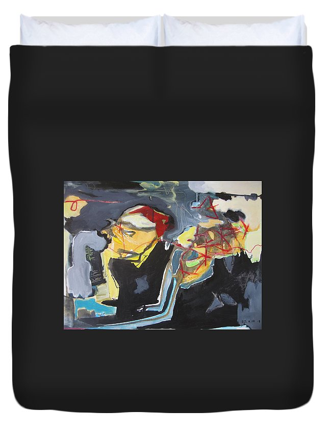 Abstract Paintings Duvet Cover featuring the painting Alexander Trail by Seon-Jeong Kim