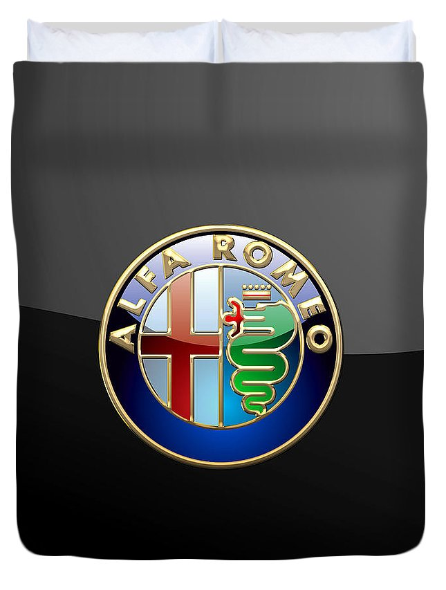 Wheels Of Fortune� Collection By Serge Averbukh Duvet Cover featuring the photograph Alfa Romeo - 3 D Badge On Black by Serge Averbukh