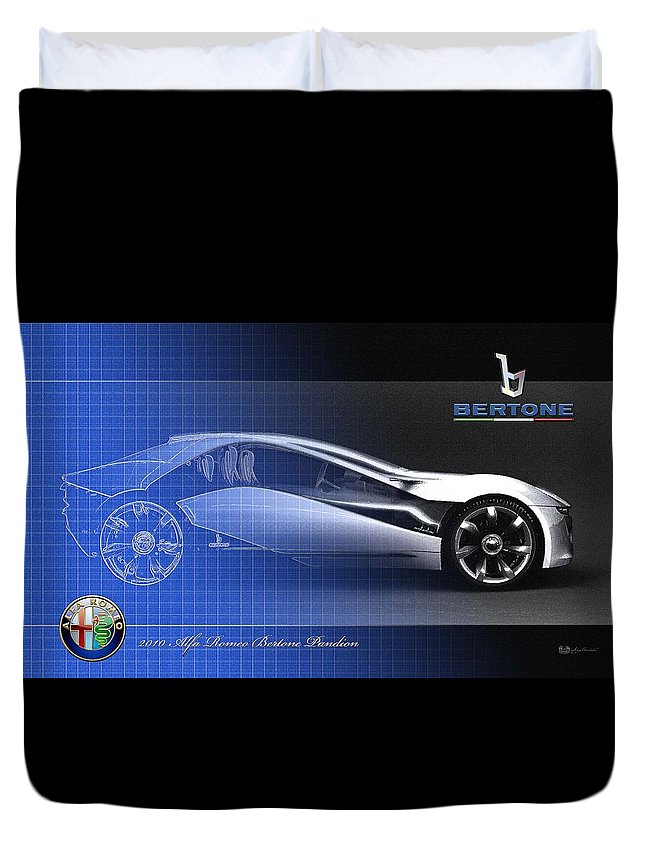 Wheels Of Fortune By Serge Averbukh Duvet Cover featuring the photograph Alfa Romeo Bertone Pandion Concept by Serge Averbukh