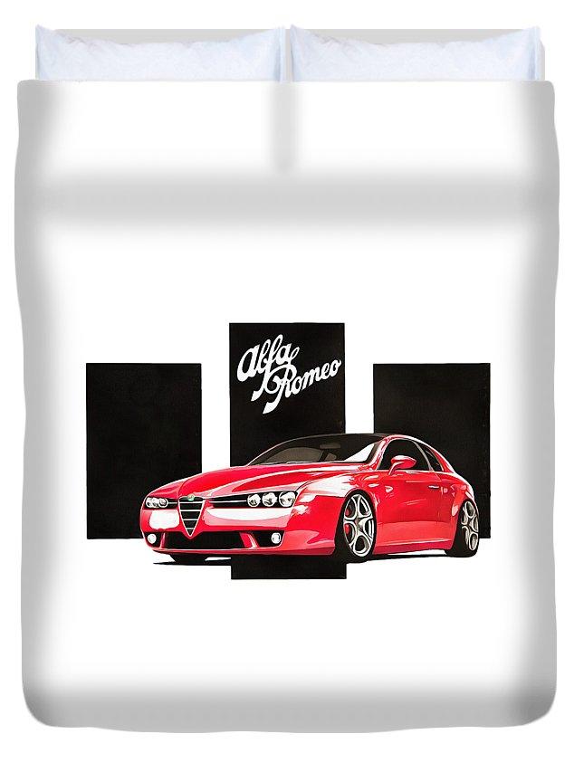 Red Duvet Cover featuring the digital art Alfa Romeo Brera by Dazzle Wiseman