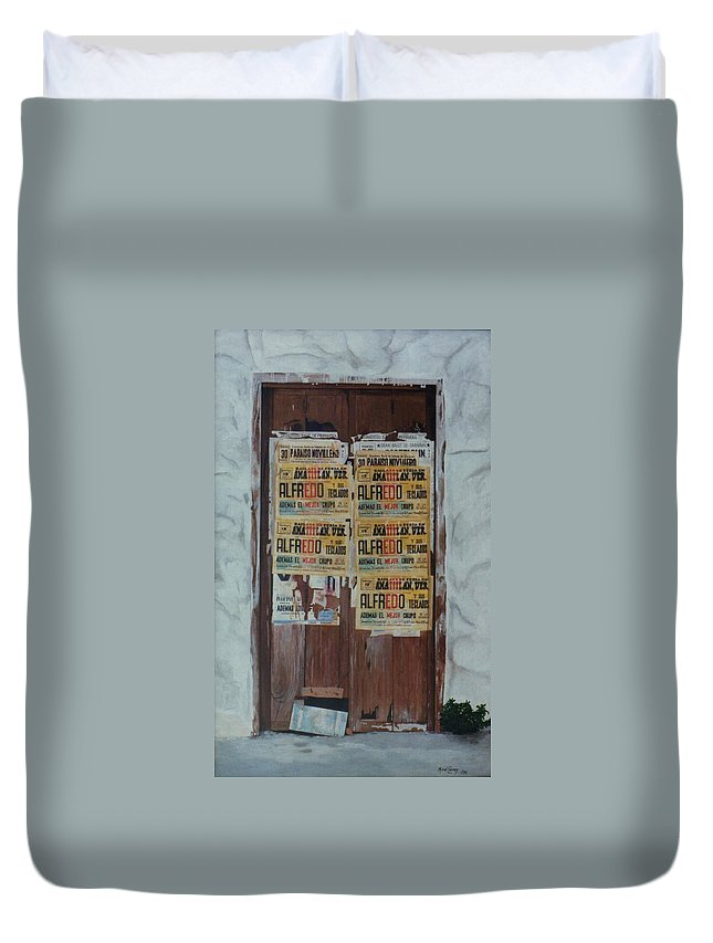 Hyperrealism Duvet Cover featuring the painting Alfredo, Alfredo by Michael Earney