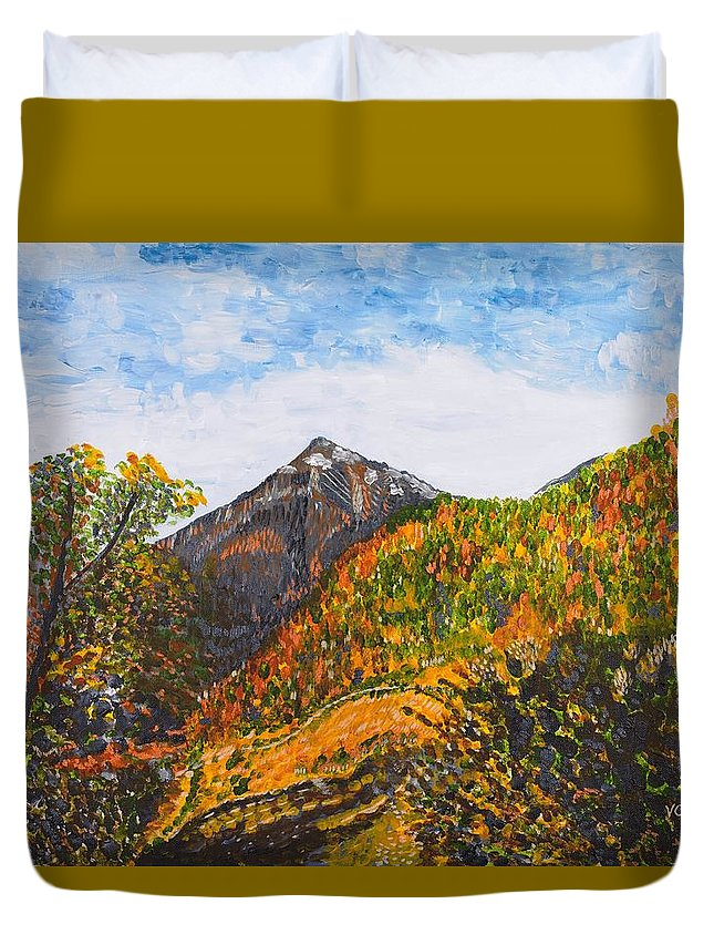 Landscape Duvet Cover featuring the painting Algund View by Valerie Ornstein