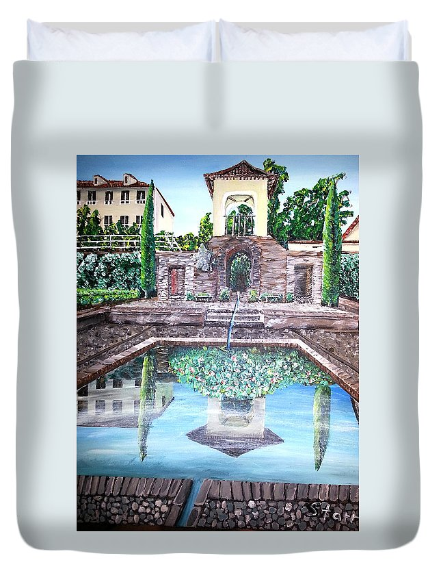 Spain Duvet Cover featuring the painting Alhambra Spain Reflections by Irving Starr