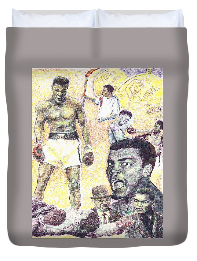 Ali Duvet Cover featuring the drawing Ali by Charles Bickel