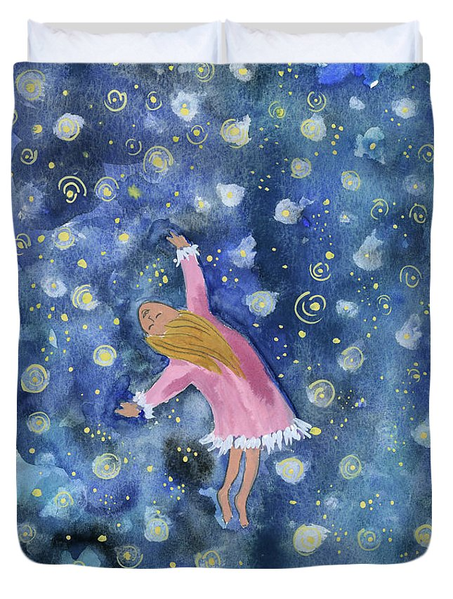 Duvet Cover featuring the painting Alice Flying Inthe Night Sky by Claud Brown