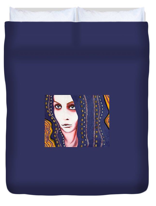 Woman Duvet Cover featuring the painting Alice by Sheridan Furrer