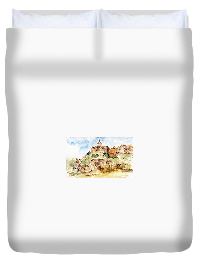 Castle Duvet Cover featuring the painting Alice's Castle by Anne Duke