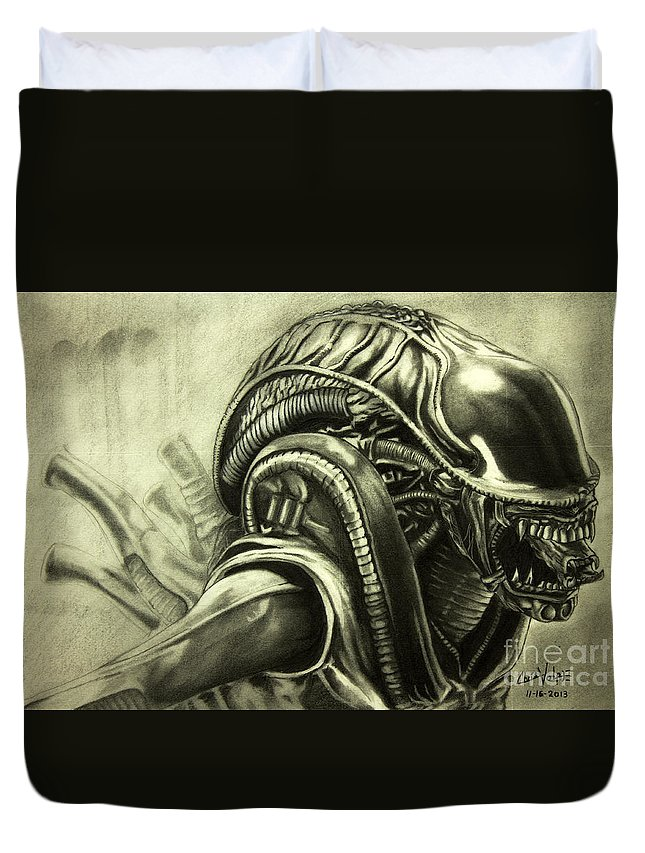 Alien Duvet Cover featuring the drawing Alien by Chris Volpe