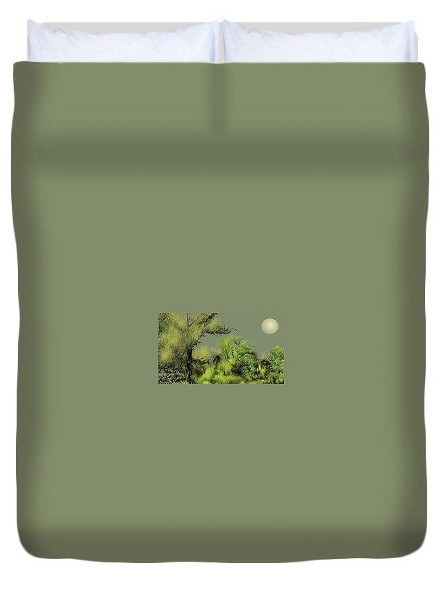 Digital Fantasy Painting Duvet Cover featuring the digital art Alien Garden 2 by David Lane