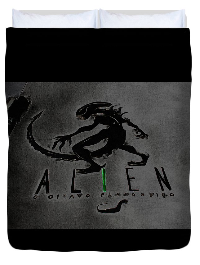 Et Duvet Cover featuring the digital art Alien On Marker by Mirana Storm