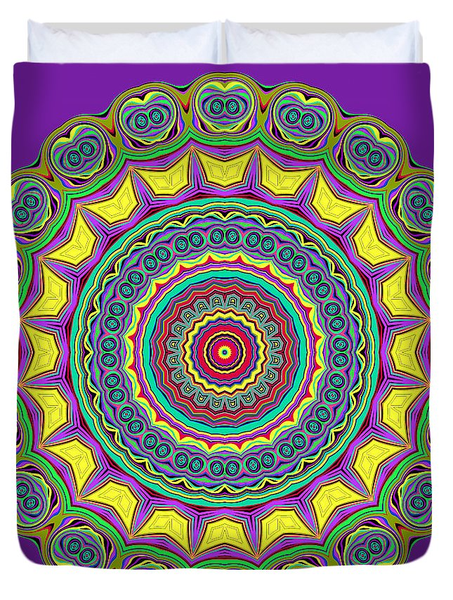 Digital Duvet Cover featuring the digital art Alien Prayer Circle by Joy McKenzie