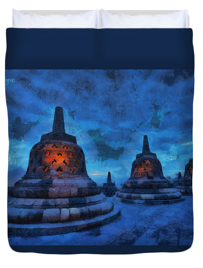 Advised Duvet Cover featuring the painting Alien Shapes by Leonardo Digenio