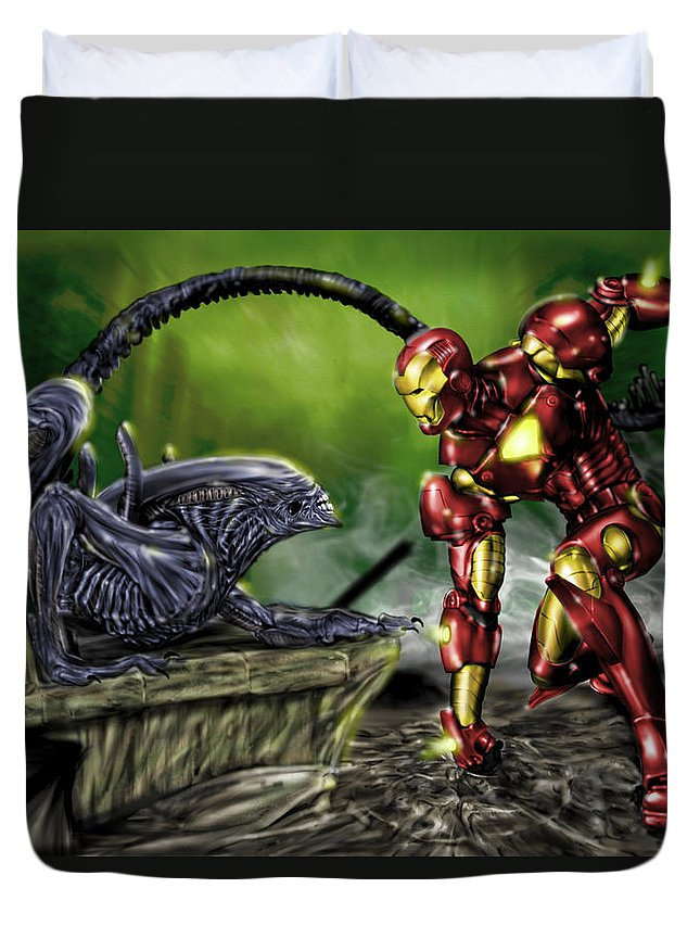 Alien Duvet Cover featuring the painting Alien Vs Iron Man by Pete Tapang