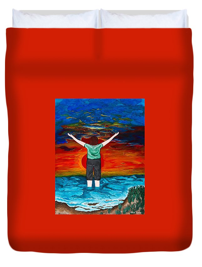 Sunrise Duvet Cover featuring the painting Alive by Cheryl Bailey