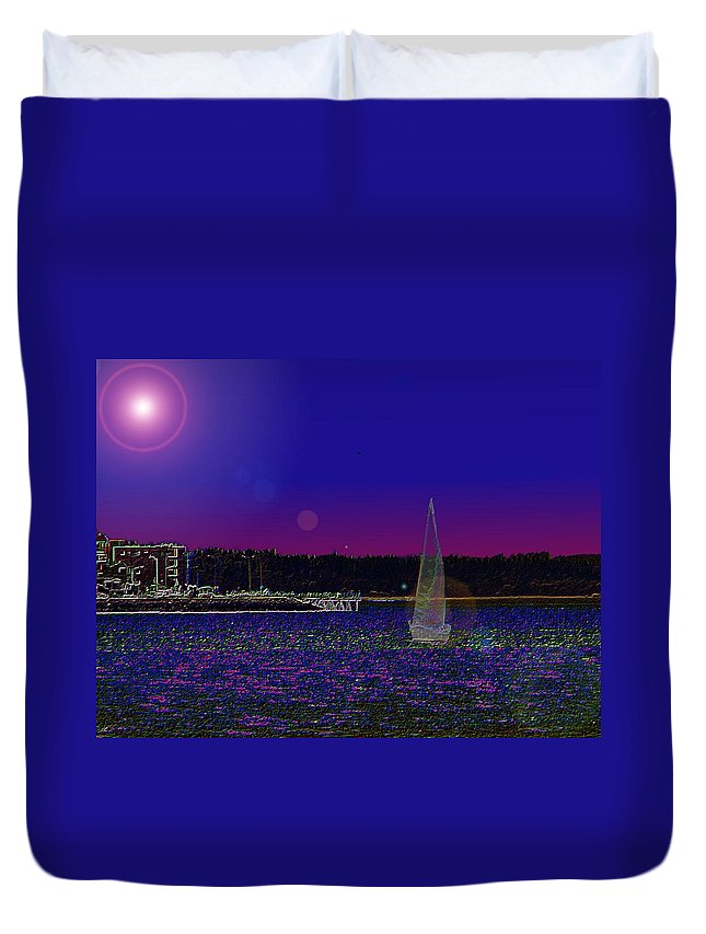 Seattle Duvet Cover featuring the digital art Alki Ghost Sail by Tim Allen