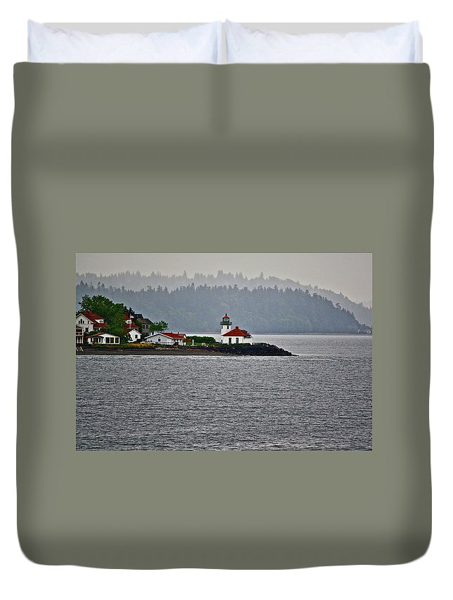 Lighthouse Duvet Cover featuring the photograph Alki Point by Diana Hatcher