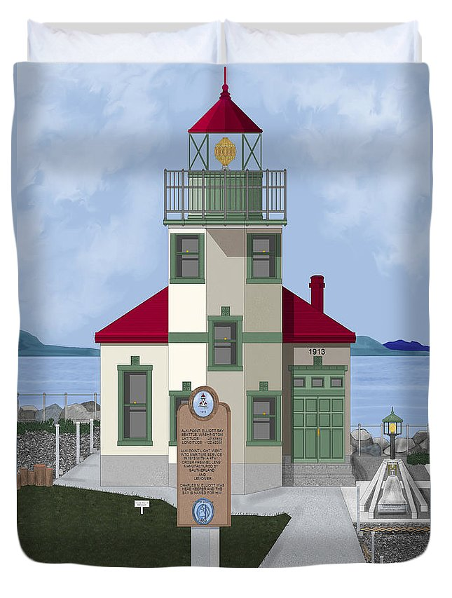 Lighthouse Duvet Cover featuring the painting Alki Point On Elliott Bay by Anne Norskog