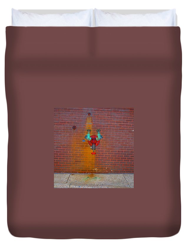 Photograph Duvet Cover featuring the photograph All Alone Red Pipe by Thomas Valentine