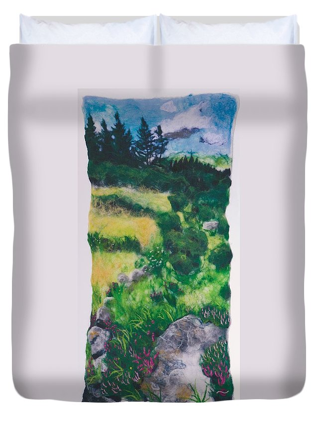 Landscape Duvet Cover featuring the tapestry - textile All Among The Blooming Heather by Bridget Karn
