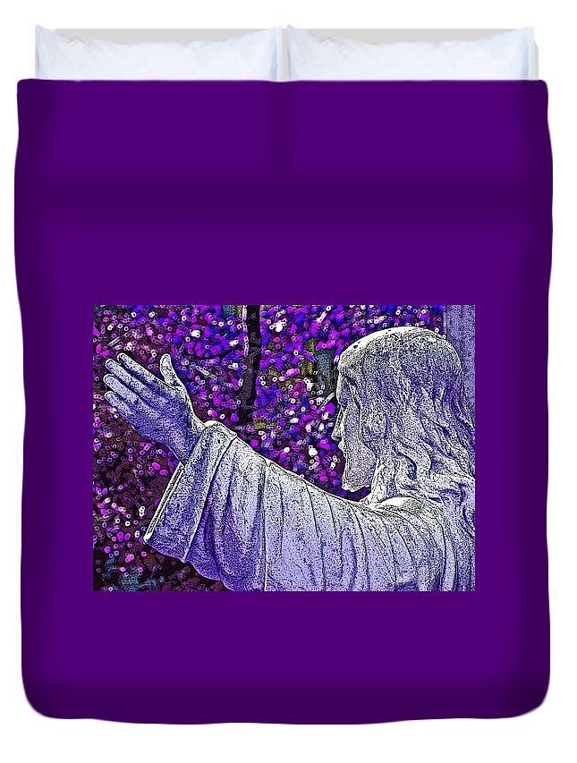 Religion Duvet Cover featuring the photograph All Are Welcome by Donna Shahan