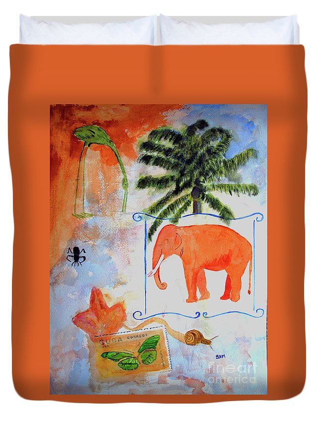 Animal Duvet Cover featuring the painting All Creatures Great And Small by Sandy McIntire