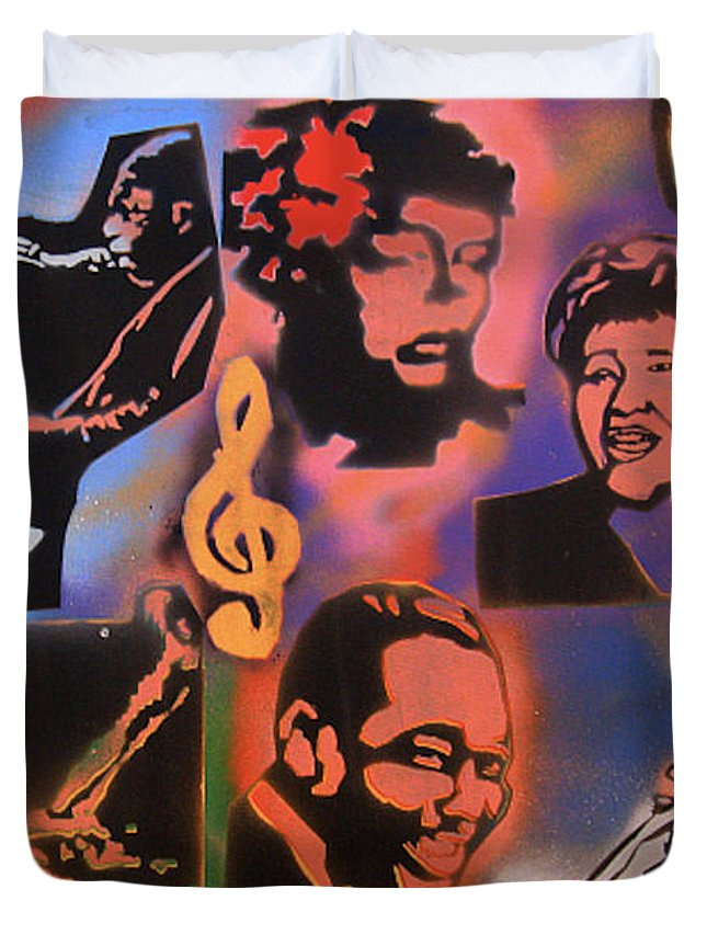 Jazz Duvet Cover featuring the painting All Dat Jazz by Tony B Conscious