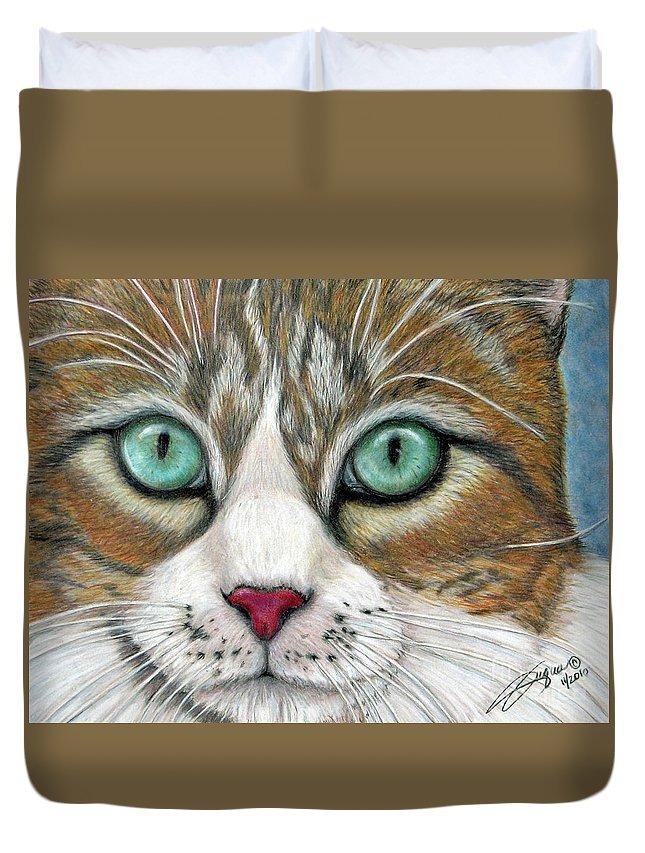Pet Portraits Duvet Cover featuring the drawing All I Want For Christmas Is A Home by Beverly Fuqua