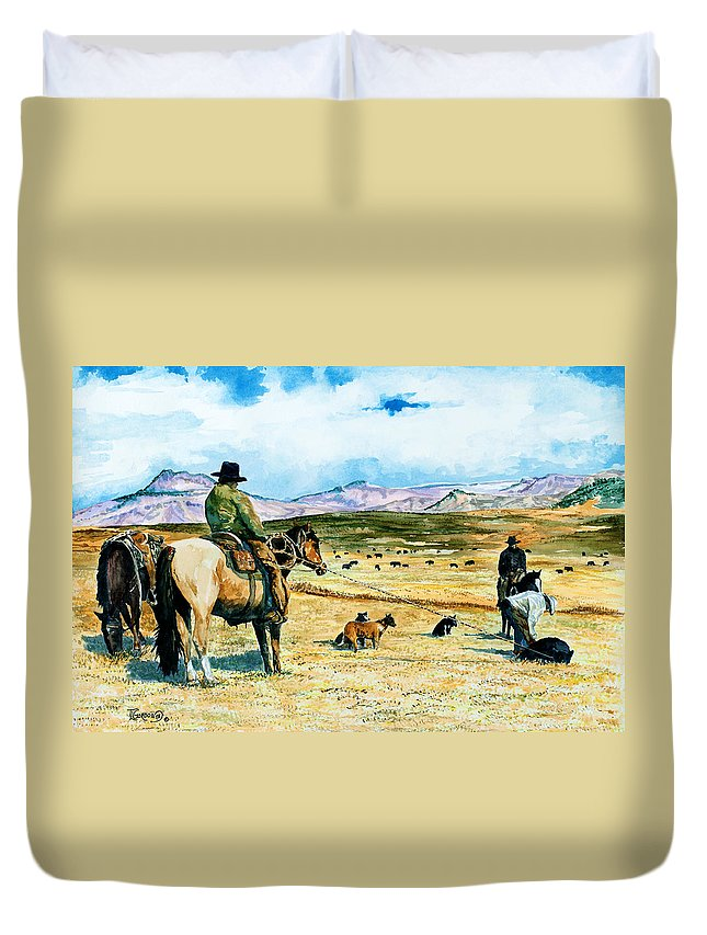 Tim Gordon Duvet Cover featuring the painting All In A Days Work by Timithy L Gordon