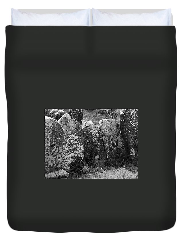 Ireland Duvet Cover featuring the photograph All In A Row At Fuerty Cemetery Roscommon Ireland by Teresa Mucha